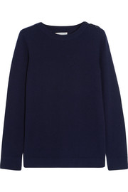 Faux suede-trimmed merino wool sweater
