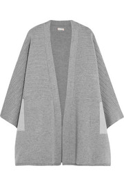 Faux suede-paneled ribbed merino wool cape