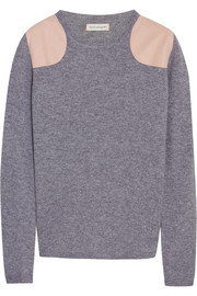 Faux suede-paneled cashmere sweater