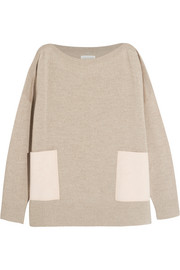 Faux suede-paneled merino wool sweater