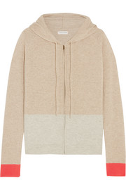 Color-block cashmere hooded top