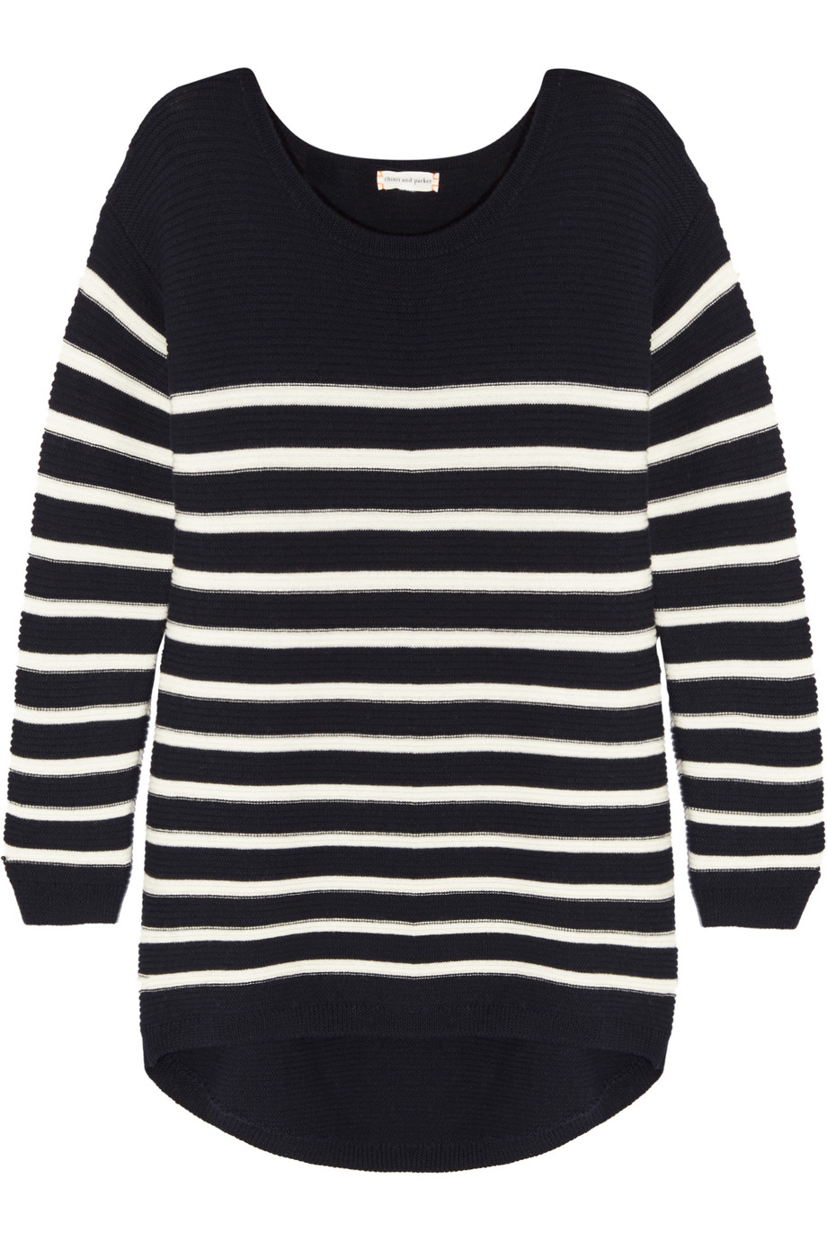 Striped Merino Wool Sweater, Chinti and Parker, Navy, Women's