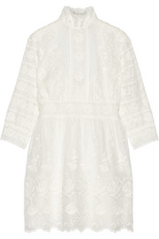 Broderie anglaise cotton-voile mini dress