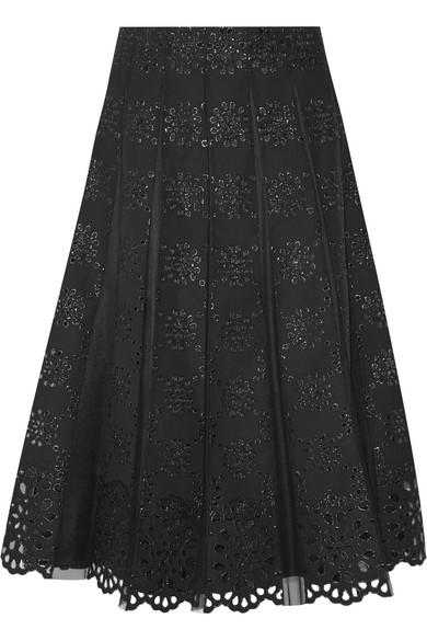 marc jacobs female 188971 marc jacobs pleated tulle and broderie anglaise cotton skirt black