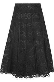 Pleated tulle and broderie anglaise cotton skirt