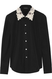 Embellished cotton-poplin shirt