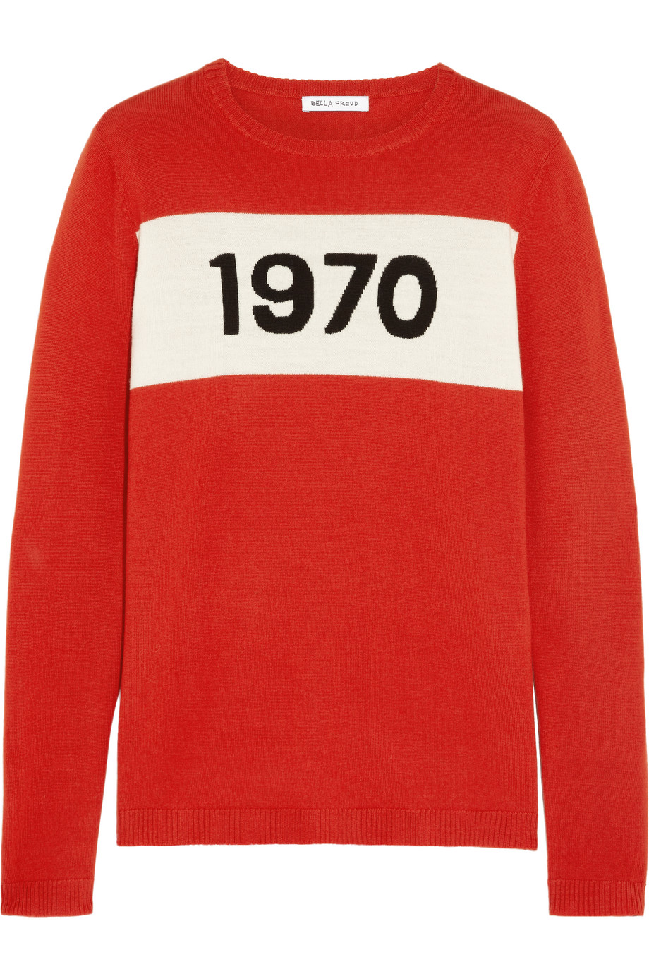 Bella Freud 1970 Intarsia Wool Sweater, Red, Women's, Size: L