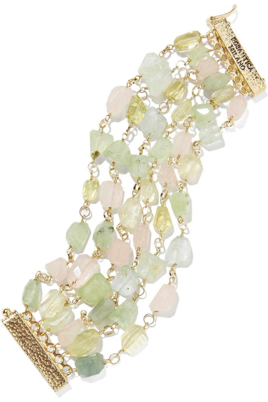 Rosantica Pastelli Gold-Tone Multi-Stone Bracelet, Gold/Mint, Women's