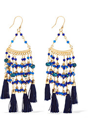 Kilimanjaro tasseled gold-tone beaded earrings