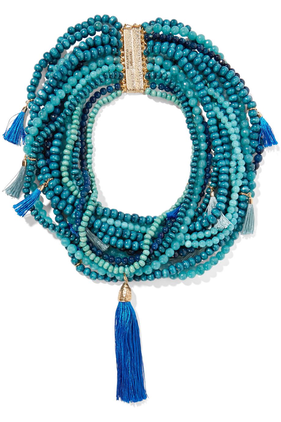 Rosantica Etna Gold-Tone, Quartz and Wood Necklace, Blue, Women's