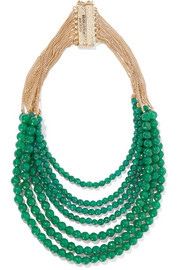 Raissa gold-tone beaded quartz necklace
