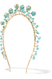 Bouquet gold-tone turquoise headband
