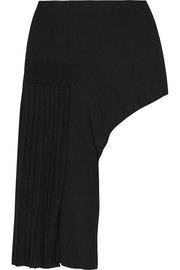 Asymmetric pleated stretch-knit mini skirt