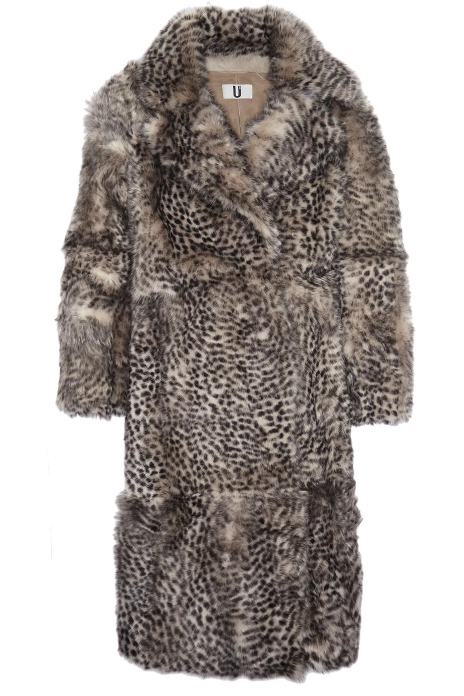 Topshop Unique D'arblay Cheetah-Print Shearling Coat, Leopard Print/Gray, Women's