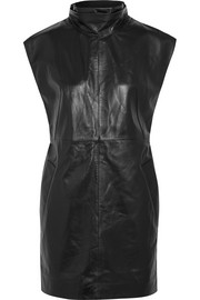 Romilly turtleneck leather mini dress