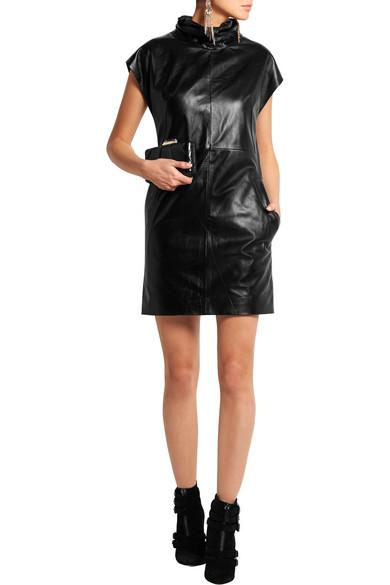 Turtleneck Leather Dress