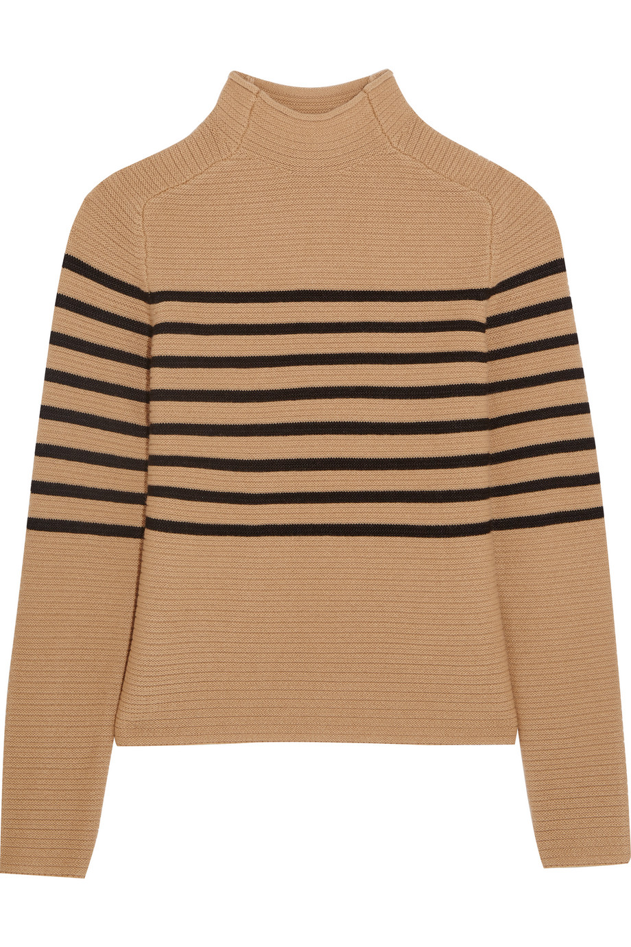 Topshop Unique Broadwick Striped Wool and Cashmere-Blend Sweater, Camel, Women's, Size: XS