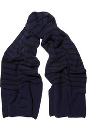 Broadwick ribbed striped wool and cashmere-blend scarf
