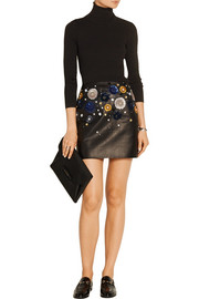 Linard embellished leather mini skirt