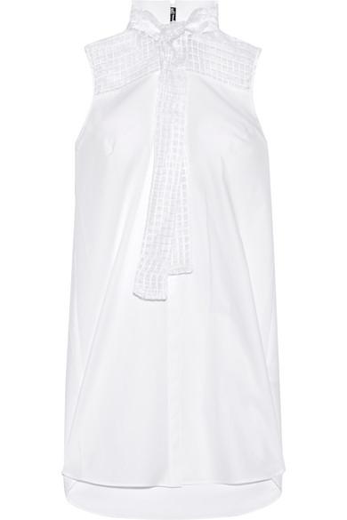 Karl Lagerfeld - Pussy-bow Cotton-poplin Tunic - White