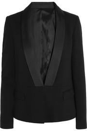 Nadya satin-trimmed stretch-piqué blazer