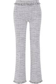 Cotton-blend tweed wide-leg pants