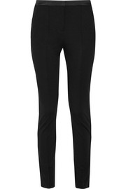 Nadya satin-trimmed stretch-ponte skinny pants