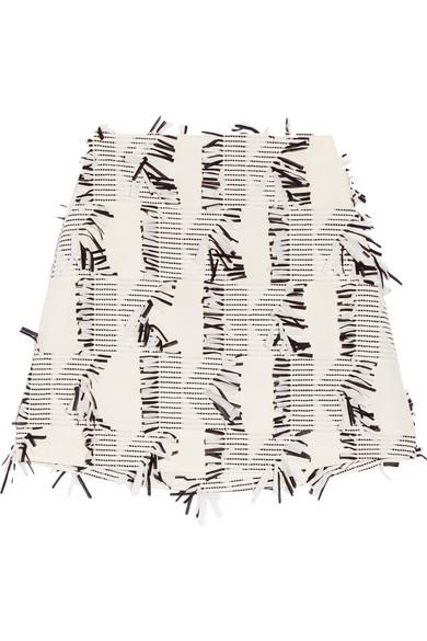 Karl Lagerfeld - Fringed Piqué Mini Skirt - Off-white