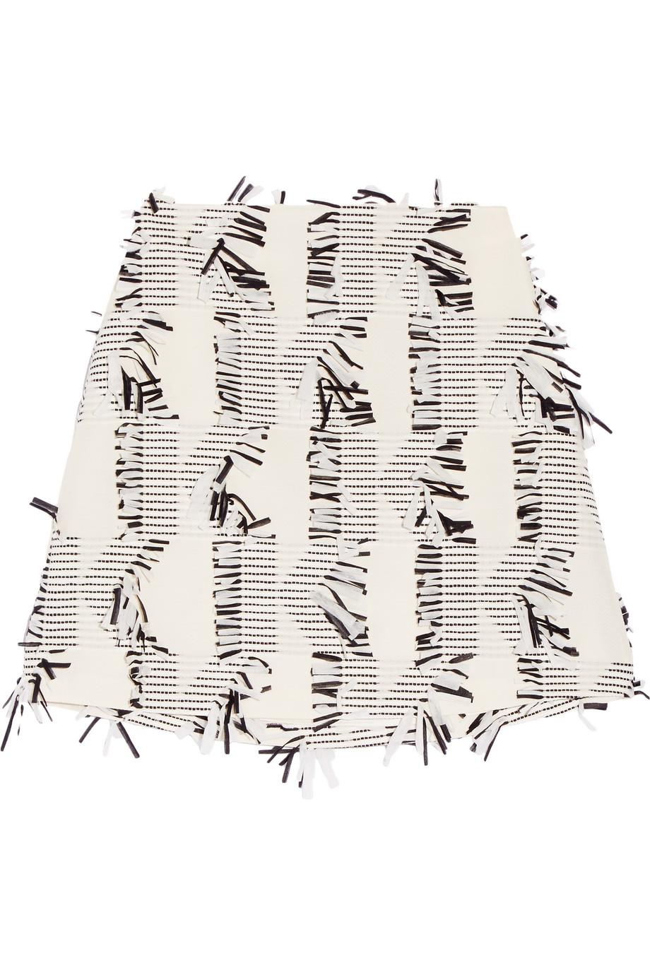 Karl Lagerfeld Fringed Piqué Mini Skirt, Off-White, Women's, Size: 38