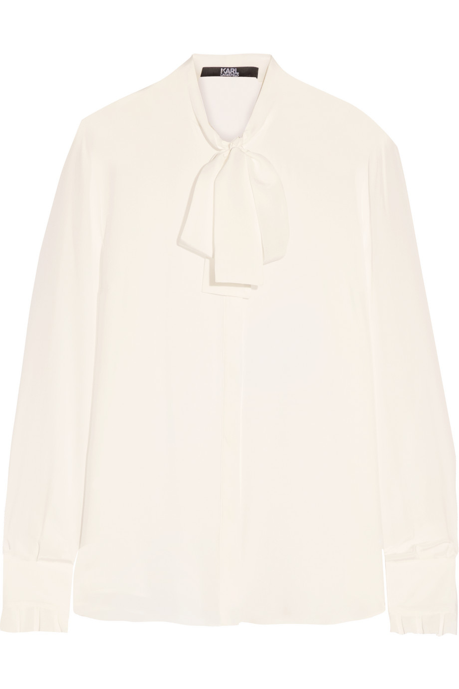 Karl Lagerfeld Pussy-Bow Silk-Georgette Blouse, White, Women's, Size: 44