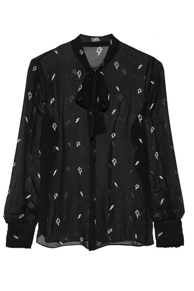 Karl Lagerfeld - Pussy-bow Printed Chiffon Blouse - Black