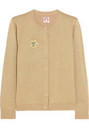 Caroline appliquéd metallic wool-blend cardigan