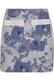 Anne embellished cotton-blend jacquard mini skirt