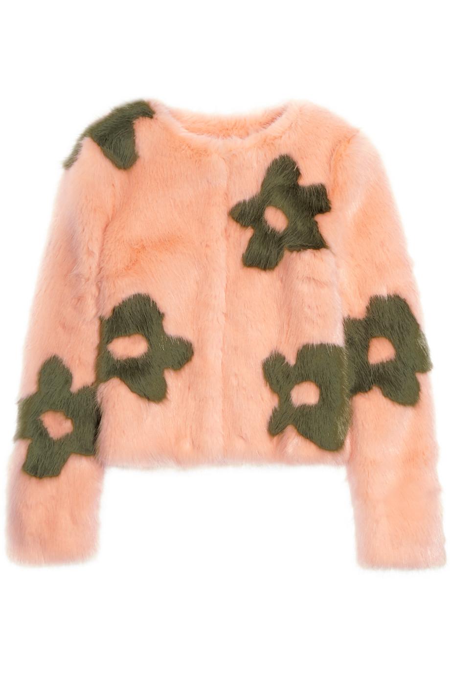 Shrimps Bambi Floral-Print Faux Fur Jacket, Peach, Women's, Size: M