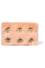 Meadow embroidered faux fur clutch