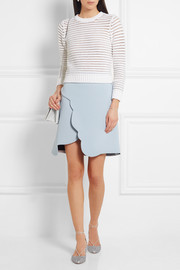 Carven Scalloped wrap-effect crepe mini skirt