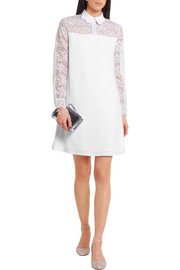 Carven Embroidered organza and crepe dress