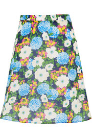 Floral-print cotton-voile mini skirt