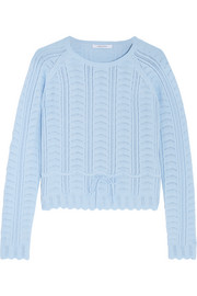 Pointelle-knit cotton-blend sweater