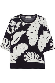 Leaf intarsia wool sweater