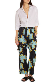 Printed washed-silk wide-leg pants