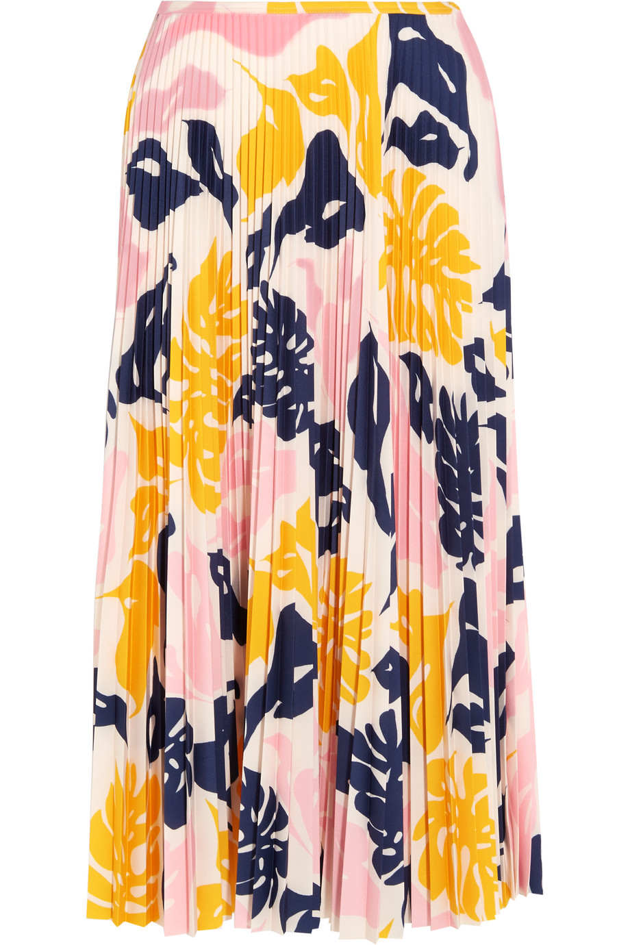 Cédric Charlier Pleated Printed Satin Midi Skirt, Pastel Pink/Yellow, Women's, Size: 38