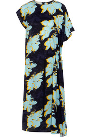 Floral-print washed-silk dress