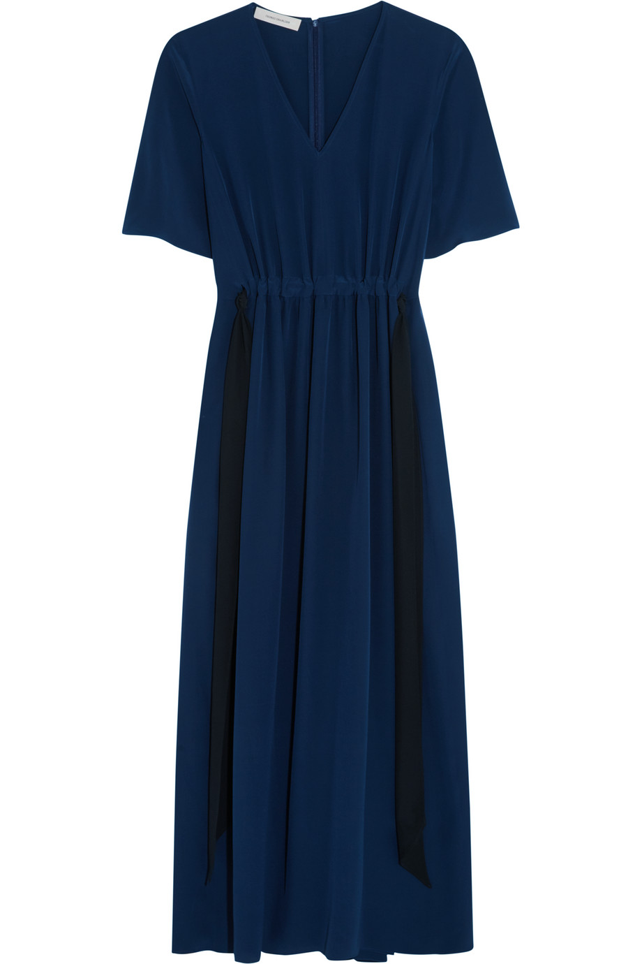 Cédric Charlier Washed-Silk Dress, Navy, Women's, Size: 38