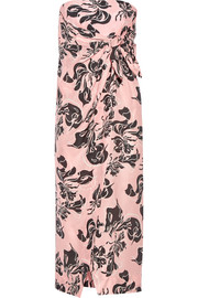 Printed washed-silk midi dress