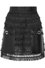 Pulla faux leather-paneled fringed cotton mini skirt