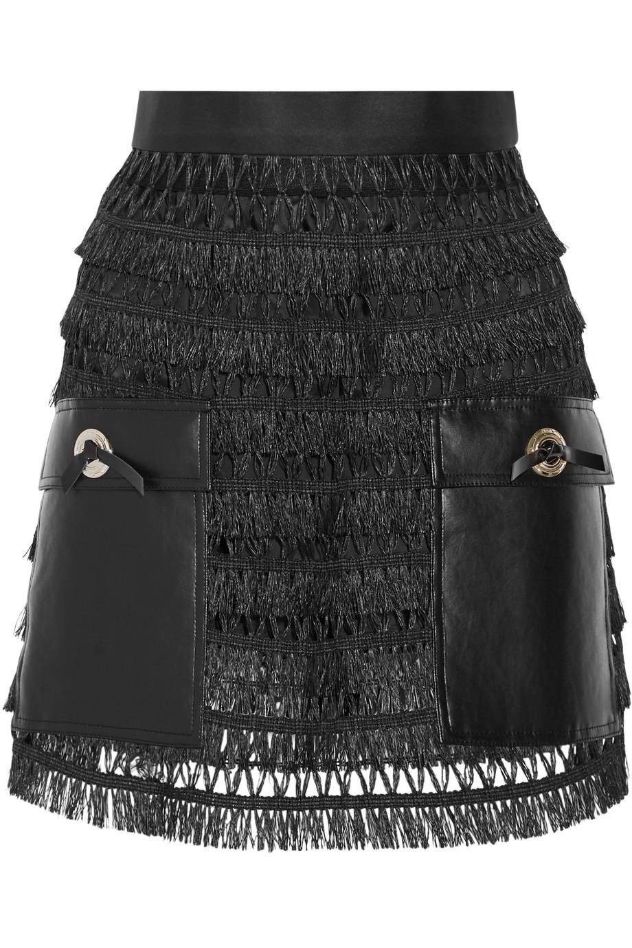Toga Pulla Faux Leather-Paneled Fringed Cotton Mini Skirt, Black, Women's, Size: 36