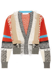 Pulla fringed intarsia cotton cardigan
