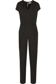 Satin-trimmed georgette jumpsuit