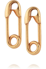 Safety Pin 10-karat gold earrings